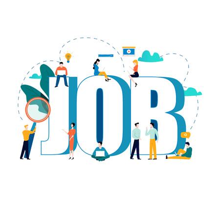 Jobsuche, Rekrutierung, Einstellung, Beschäftigung, Freiberufler, Jobs, Karriere-Konzept. Flaches Vektorillustrationsdesign für Mobile und Netzgraphiken Vektorgrafik