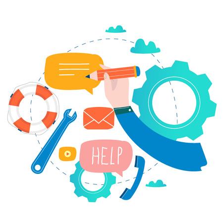 Service à la clientèle, assistance à la clientèle, call center illustration vectorielle plane. Support technique, concept d'aide en ligne pour bannière web, présentation commerciale, matériel publicitaire