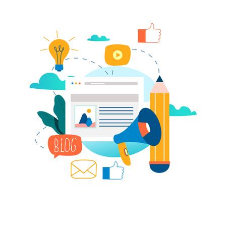 Blogging, educação, escrita criativa, gerenciamento de conteúdo, escrever artigos, notícias, redação, seminários, tutoriais, oficinas design ilustração vetorial plana para gráficos móveis e web