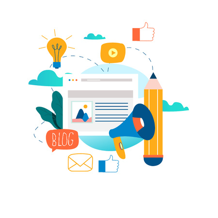 Blogowanie, edukacja, kreatywne pisanie, zarządzanie treścią, pisanie artykułów, wiadomości, copywriting, seminaria, samouczki, warsztaty projektowania płaskich ilustracji wektorowych dla grafiki mobilnej i internetowej