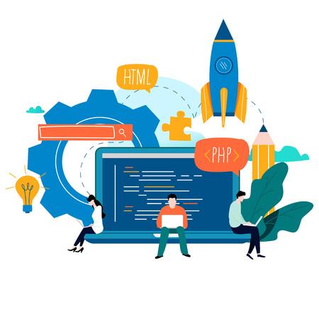 Coding, programming, application development, flat vector illustration design