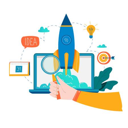 비즈니스 프로젝트 시작 프로세스, 시작 아이디어 착수, 프로젝트 관리, 시작 플랫 비즈니스 벡터 일러스트 레이션 디자인 시작 일러스트