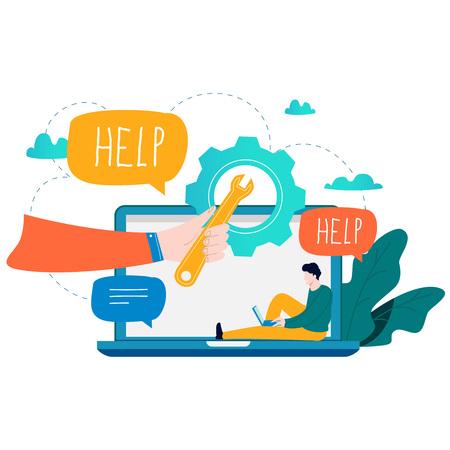 Atendimento ao cliente, assistência ao cliente, ilustração em vetor plana call center. Suporte técnico, conceito de ajuda on-line para banner web, apresentação de negócios, material publicitário
