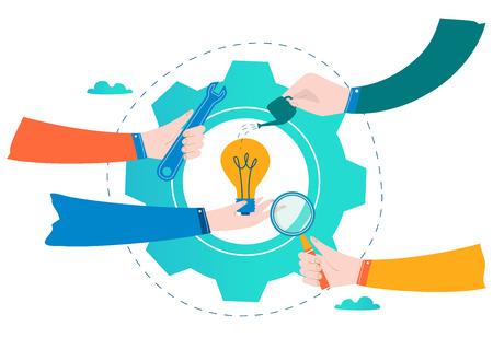 Geschäftsentwicklung, Projekt und Forschung, Prüfung und Verbesserung entwerfen für flache Vektorillustration der Mobile- und Netzgraphiken