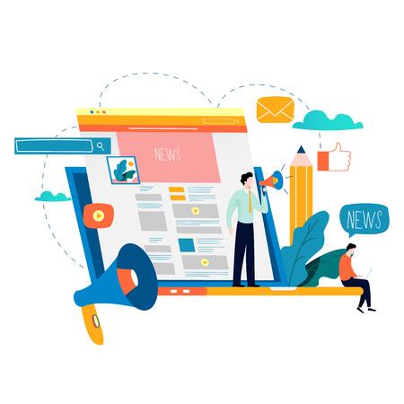 Nieuwsupdate, online nieuws, krant, nieuwswebsite platte vectorillustratie. Nieuws webpagina, informatie over evenementen, activiteiten, bedrijfsinformatie en aankondigingen