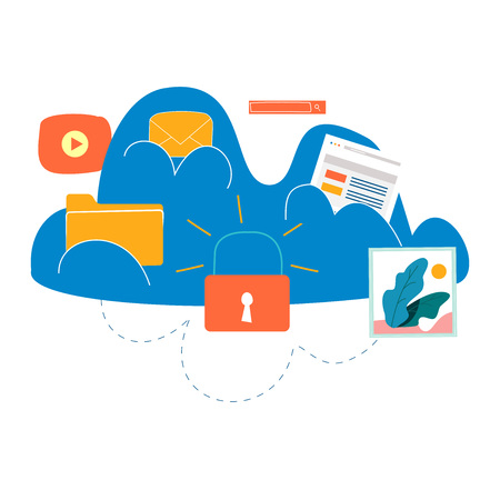 Cloud computing services and technology, secure data storage flat vector illustration. Network data storage protection design for mobile and web graphics