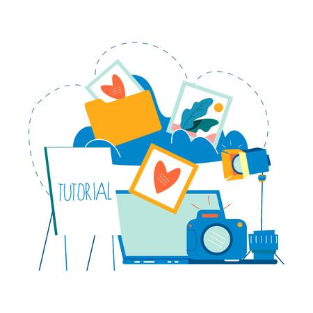 Fotografielessen, fotografiecursussen, tutorials, onderwijsconcept, workshops platte vectorillustratie