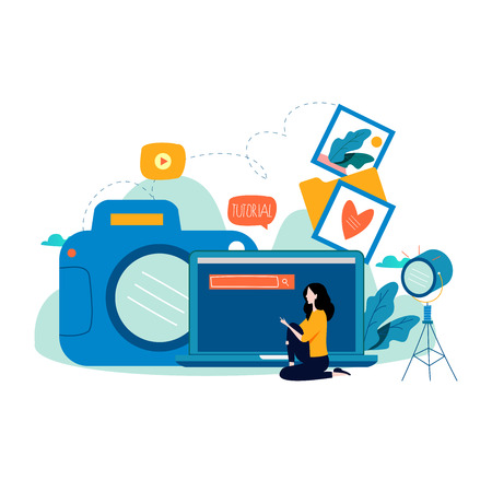 Photography classes, photography courses, tutorials, education concept, workshops flat vector illustration