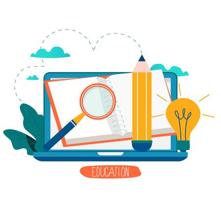 Istruzione, corsi di formazione online, illustrazione di vettore di istruzione a distanza. Studio su Internet, libro online, tutorial, e-learning, progettazione di formazione online per grafica mobile e web