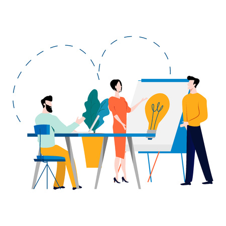 Beroepsopleiding, onderwijs, online tutorial, online bedrijfscursus, zakelijke presentatie platte vectorillustratie. Expertise, ontwikkeling van vaardigheden voor mobiele en webafbeeldingen