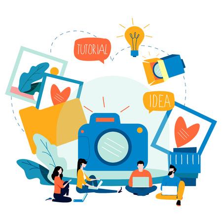사진 수업, 사진 코스, 튜토리얼, 교육 컨셉, 워크샵 플랫 벡터 일러스트 레이션
