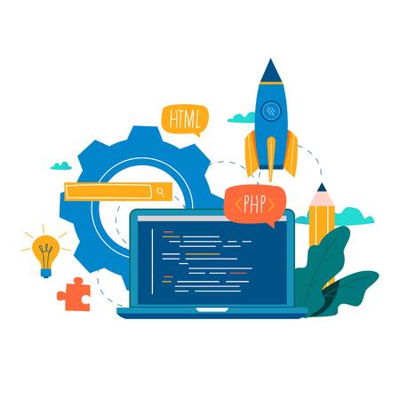 コーディング、プログラミング、アプリケーション開発フラットベクトルイラストデザイン