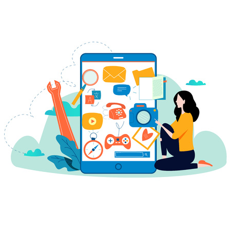 Mobile application development process flat vector illustration. Software API prototyping and testing background. Illustration