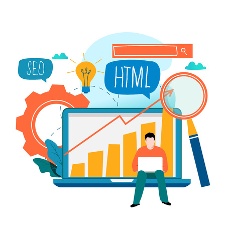 SEO, search engine optimization, keyword research, market research flat vector illustration. SEO concept. Web site coding, internet search optimization design for mobile and web graphics Çizim