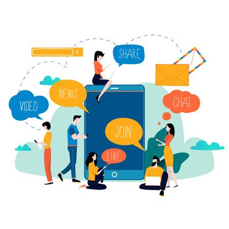 Redes sociales, redes, chat, mensajes de texto, comunicación, comunidad en línea, publicaciones, comentarios, noticias, ilustración vectorial plana. Personas con diseño de burbujas de discurso para móviles y gráficos web Ilustración de vector