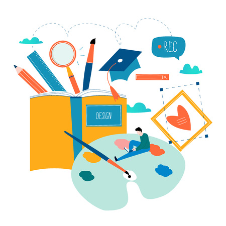 Design studio, designing, drawing, graphic design, education, creativity, art, ideas flat vector illustration.
