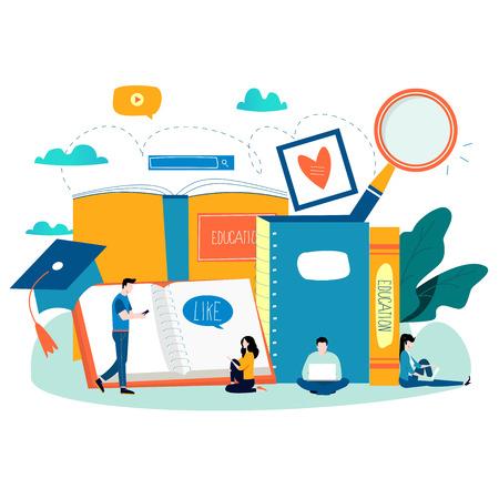 Educación, cursos de formación en línea, educación a distancia ilustración vectorial plana. Estudio en Internet, libro en línea, tutoriales, aprendizaje en línea, diseño de educación en línea para gráficos móviles y web. Ilustración de vector