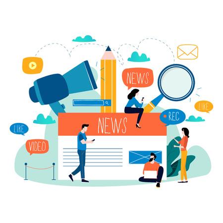 Actualización de noticias, noticias en línea, periódico, sitio web de noticias ilustración vectorial plana.