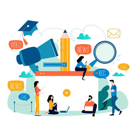 Éducation, tutoriel vidéo, webinaire, cours de formation, illustration vectorielle plane d'enseignement à distance. Étude sur Internet, e-learning, conception de l'éducation en ligne pour les graphiques mobiles et Web.