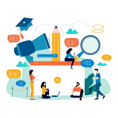 Edukacja, samouczek wideo, seminarium internetowe, kursy szkoleniowe, ilustracja wektorowa płaskiej edukacji na odległość. Studia internetowe, e-learning, projektowanie edukacji online w zakresie grafiki mobilnej i internetowej.
