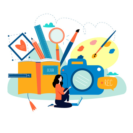 Design studio, designing, drawing, photographing, graphic design, education, creativity, art, ideas flat vector illustration. Online courses, books, tutorials for mobile and web graphics. Illustration