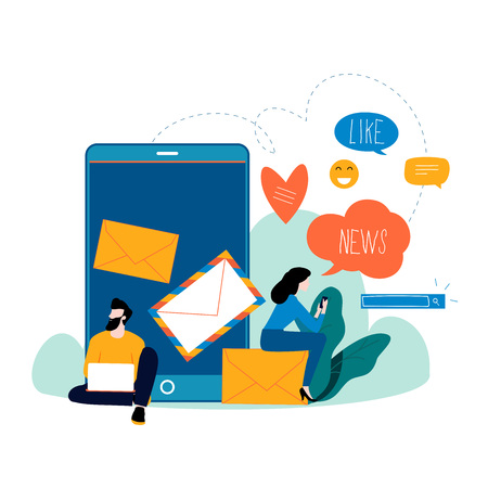 Chat talk, news, notifications, chat messages, subscription flat vector illustration design for mobile and web graphics. Stock Illustratie