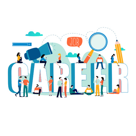 Job search, recruitment, hiring, employment, freelance, jobs, career concept. Flat vector illustration design for mobile and web graphics. Word career with group of people.