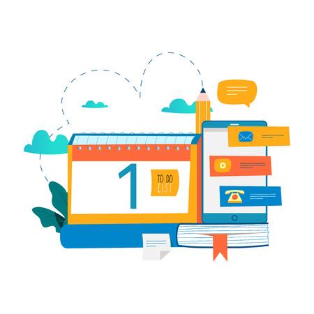 Calendar, planner, schedule, memo, timeline concept flat vector illustration. Planning events, organization, time management design for mobile and web graphics.