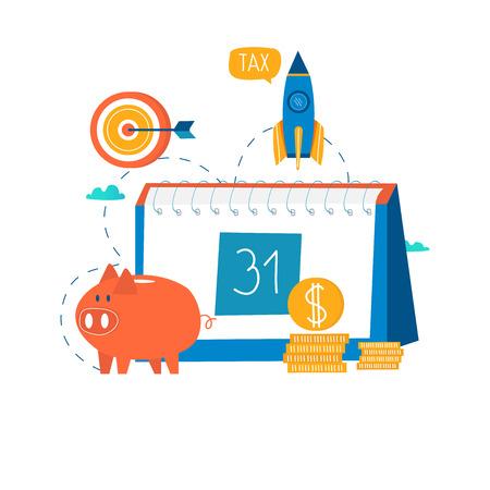 財務カレンダー、財務計画、月次予算計画フラットベクターイラストのデザイン。モバイルおよび Web グラフィックスの財務計画設計。
