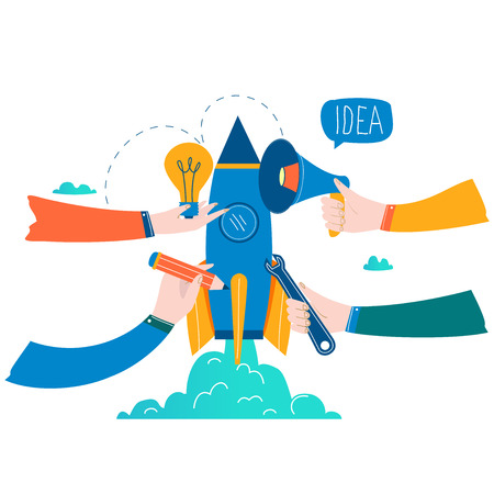 Business project startup process, startup idea launching, project management, startup launch flat business vector illustration design Illustration