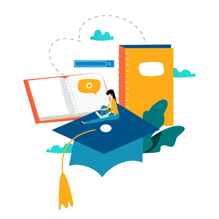Education, online training courses, distance education flat vector illustration. Internet studying, online book, tutorials, e-learning, online education design for mobile and web graphics