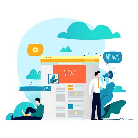 Actualización de noticias, noticias en línea, periódico, sitio web de noticias ilustración vectorial plana. Página web de noticias, información sobre eventos, actividades, información de la empresa y anuncios. Ilustración de vector