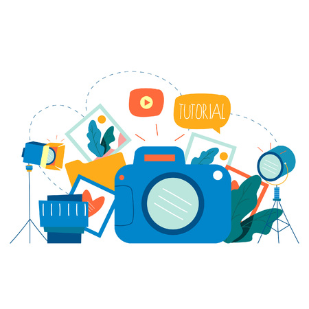 Photography classes, photography courses, tutorials, education concept, workshops flat vector illustration design