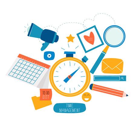 時間管理、イベントの計画、組織、最適化、期限、モバイルおよび Web グラフィックス用のフラット ベクターイラストレーションのスケジュール  イラスト・ベクター素材