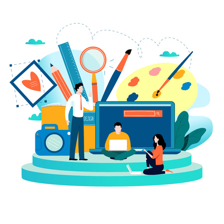 Design studio, designing, drawing, photographing, graphic design, education, creativity, art, ideas flat vector illustration. Online courses, books, tutorials for mobile and web graphics