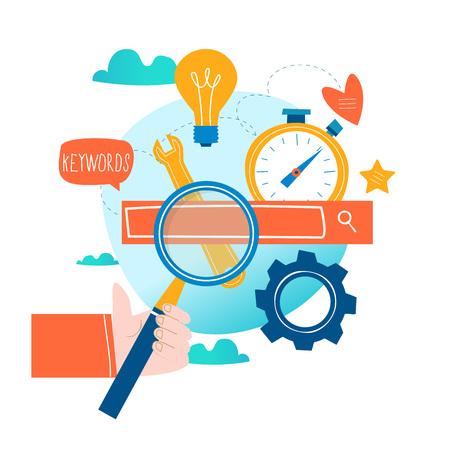 SEO, optimización de motores de búsqueda, investigación de palabras clave, ilustración de vector plano de investigación de mercado. Concepto de SEO Codificación de sitios web, palabras clave, diseño de optimización de búsqueda en Internet para gráficos móviles y web Ilustración de vector