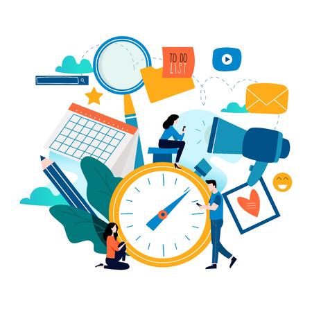 Gestion du temps, planification de la conception d'illustration plate d'événements pour les graphiques mobiles et Web.