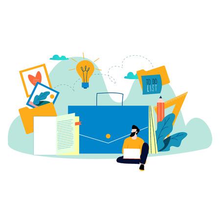 Freelancer career flat vector illustration design for mobile and web graphics