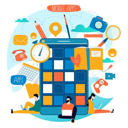 Mobile application development process flat vector illustration.