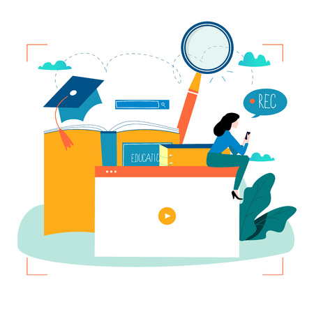 Internet studying flat vector illustration. Иллюстрация