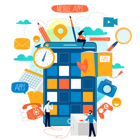 Mobile application development process flat vector illustration. Software API prototyping and testing background. Smartphone interface building process, mobile app building concept. Illustration