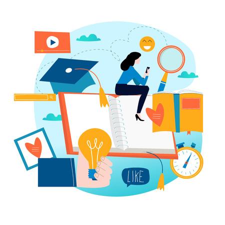 Education, online training courses, distance education flat vector illustration.