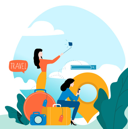 Travel, vacation, people travelling, summer holiday, passengers with baggage flat vector illustration design for mobile and web graphics