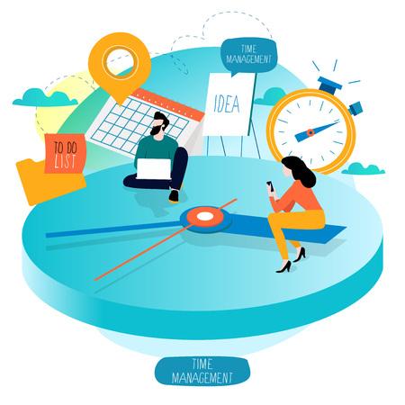 Gestion du temps, planification d'événements, heures de travail, organisation, optimisation, délai, planification de la conception d'illustration vectorielle plane pour les graphiques mobiles et web