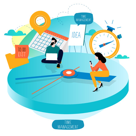 Time management, planning events, working hours, organization, optimization, deadline, schedule flat vector illustration design for mobile and web graphics