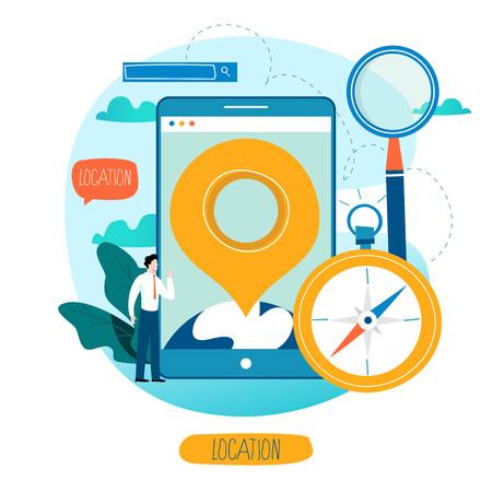 Mobile navigation app, destination point pin travel mobile application flat vector illustration.