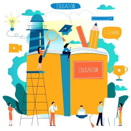 Éducation, cours de formation en ligne, illustration vectorielle plane d'enseignement à distance. Vecteurs