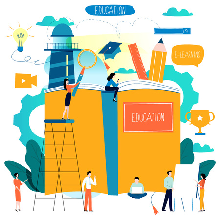 Istruzione, corsi di formazione online, illustrazione vettoriale piatta educazione a distanza. Vettoriali