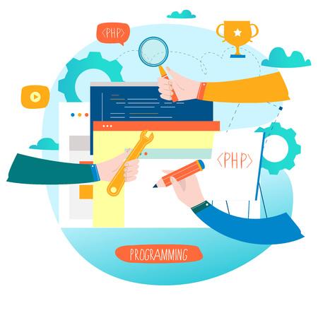 モバイルおよび Web グラフィックスのコーディング、プログラミング、Web サイト、アプリケーション開発フラット ベクターイラストレーションデザ