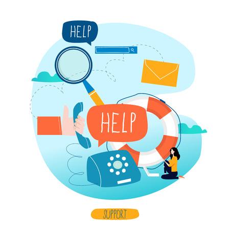 Customer service, customer assistance, call center flat vector illustration.